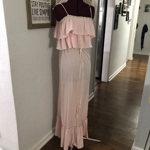 Vintage Ruffled Hippie Gown Maxi Dress Halloween